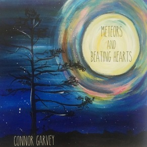 Album cover for Meteors & Beating Hearts, showing Van Gogh-style landscape with moon and mostly bare tree.