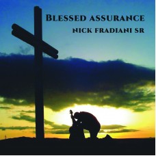 Cover of Blessed Assurance EP, showing man with guitar kneeling in front of cross in the sunset